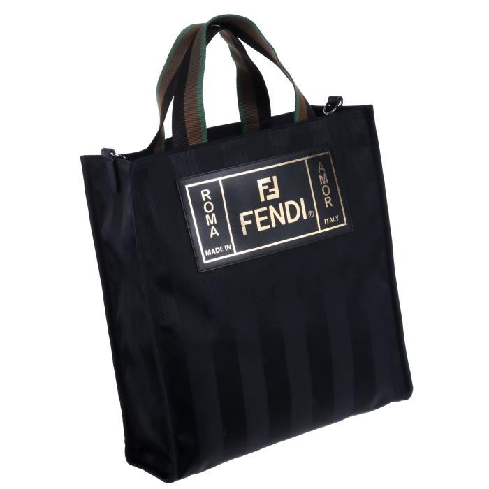 フェンディ FENDI 2019年春夏新作 ロゴ ストライプ キャンバストートバッグ ブラック 7VA454 A6FY F0GXN