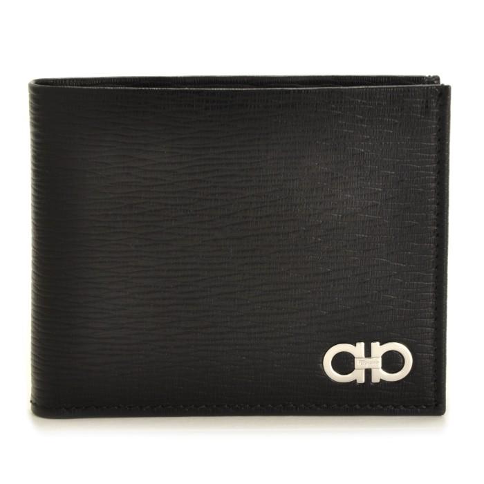 フェラガモ FERRAGAMO メンズ ガンチーニ 財布 REVIVAL GANC 二つ折り財布 ブラック 66A065 0007 0396