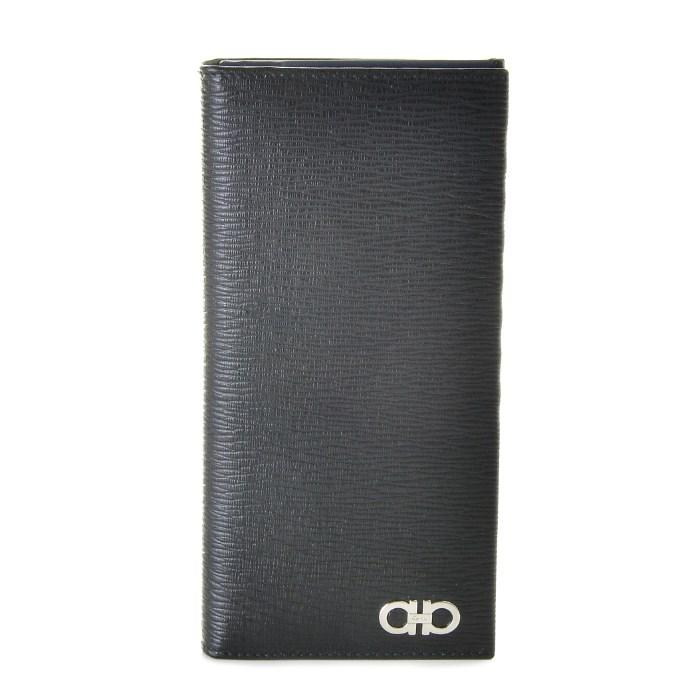 フェラガモ FERRAGAMO 財布 ガンチーニ REVIVAL GANC メンズ 二つ折り長財布 ブラック系 66A069 0007 0396