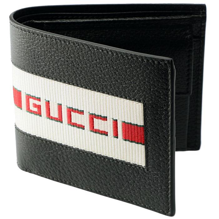 グッチ GUCCI 2019年春夏新作 財布 メンズ 二つ折り 小銭入れ付き ストライプ レザーウォレット ブラック系 408826 CWGRN 1094