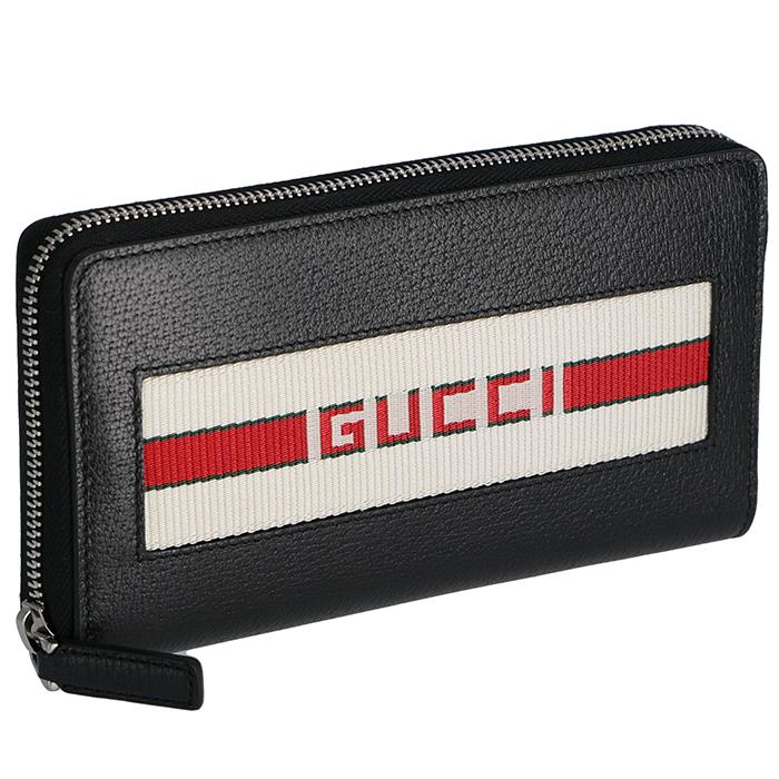グッチ GUCCI 2019年春夏新作 財布 メンズ 長財布 ストライプ レザーウォレット ブラック系 408831 CWGRN 1094