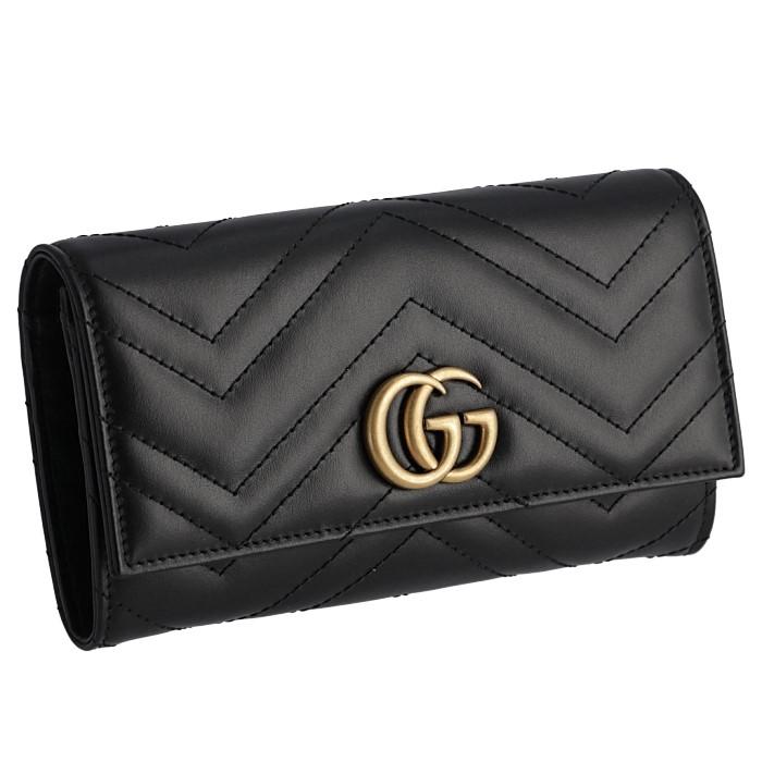 グッチ GUCCI 2019年春夏新作 財布 GGマーモント 長財布 二つ折り GG Marmont レディース ブラック 443436 DTD1T 1000