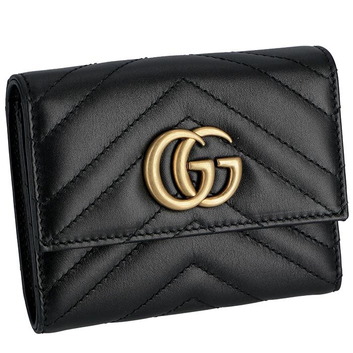 グッチ GUCCI マーモント ミニ財布 Gg Marmont 2.0 三つ折り財布 ブラック 474802 DRW1T 1000