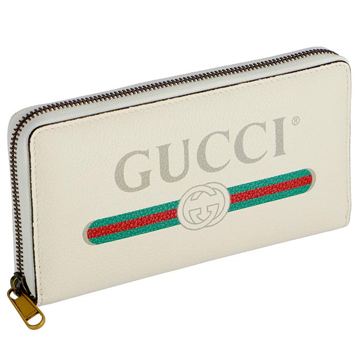 グッチ GUCCI 2019年春夏新作 財布 ヴィンテージロゴプリント 長財布 ラウンドジップ メンズ レディース ホワイト系 496317 0GCAT 8820