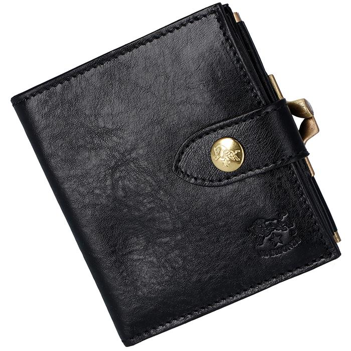 イルビゾンテ IL BISONTE 財布 がま口 レディース メンズ ミニ財布 二つ折り財布 ブラック C1033 P 153