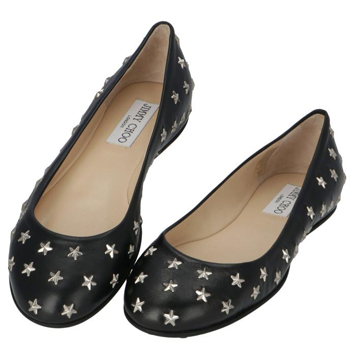 ジミーチュウ JIMMY CHOO スタースタッズ パンプス 靴 フラットシューズ GWENNFLAT ブラック×シルバースタッズ GWENNFLAT NAS 0027