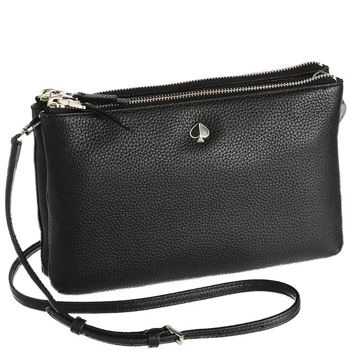 dc9744cf885 Kate spade KATE SPADE bag shoulder bag POLLY Polly medium double gusset  crossbody bag black PXRUA247 0018 001