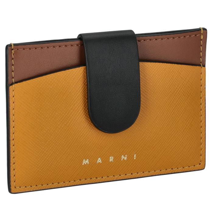 マルニ MARNI カードケース 名刺入れ バイカラー イエロー×ブラウン PFMO0012Q2 LV589 Z2G05