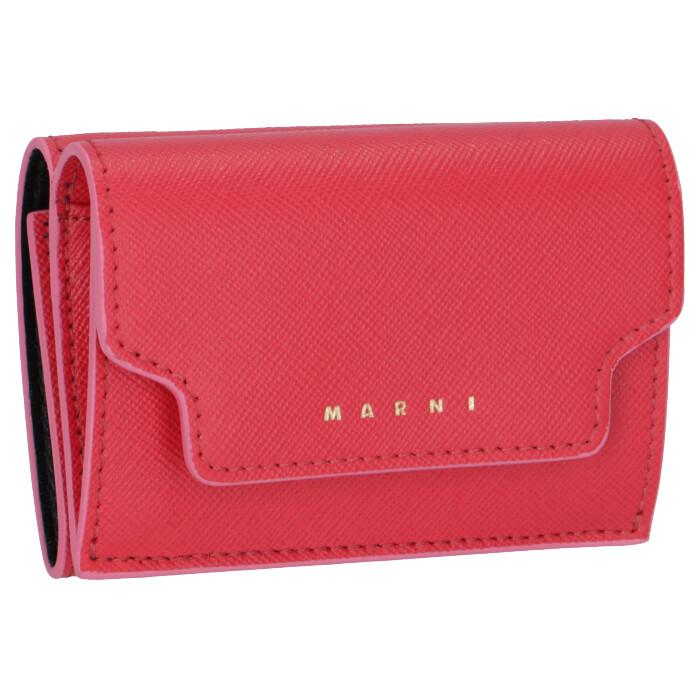 マルニ MARNI 2020年春夏新作 財布 三つ折り ミニ財布 サフィアーノレザー ピンク系 PFMOW02U17 LV520 Z303C