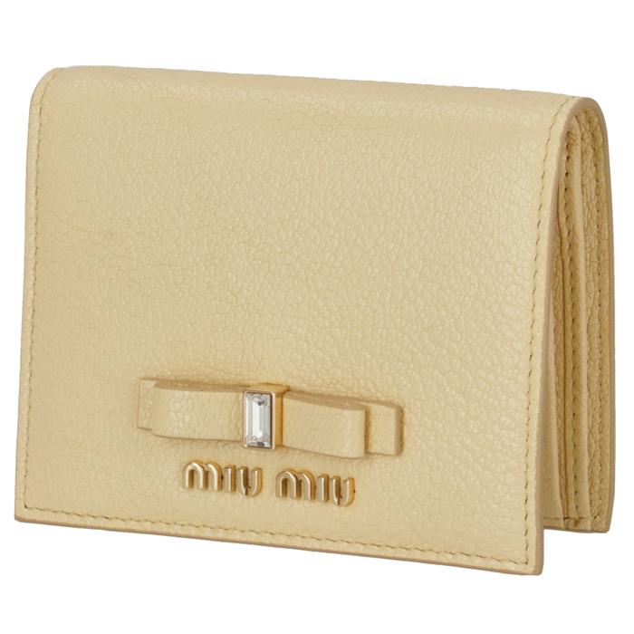 ミュウミュウ MIU MIU 2020年春夏新作 財布 二つ折り マドラス リボン ミニ財布 イエロー系 5MV204 2D7A 061