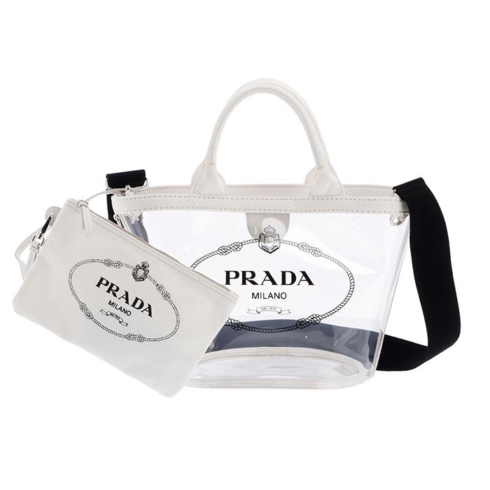 プラダ PRADA 2019年春夏新作 バッグ ショルダー プレックス PVC 2wayバッグ ホワイト系 1BG187OOO 2BY5 009