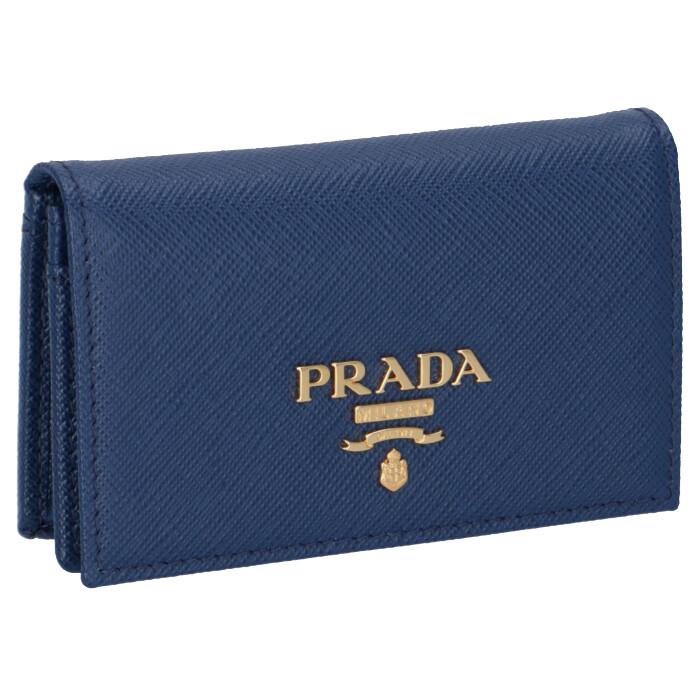 プラダ PRADA カードケース 名刺入れ saffiano metal oro サフィアーノ カードケース ブルー系 ネイビー系 1MC122 QWA 016