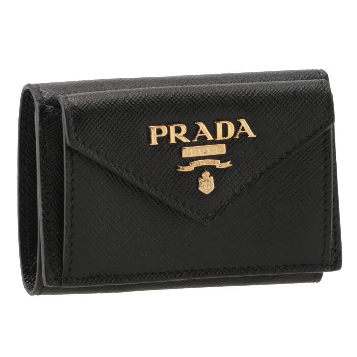82b4d9f712e6 プラダPRADA2019年春夏新作三つ折り財布ミニ財布レディースサフィアーノブラック1MH021QWA002