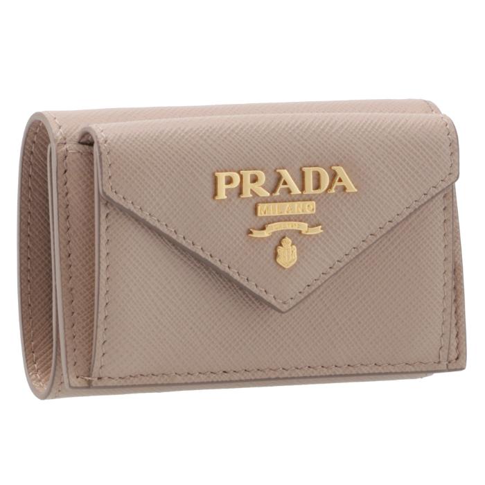 プラダ PRADA 2019年春夏新作 三つ折り財布 ミニ財布 レディース サフィアーノ ベージュ系 1MH021 QWA 236