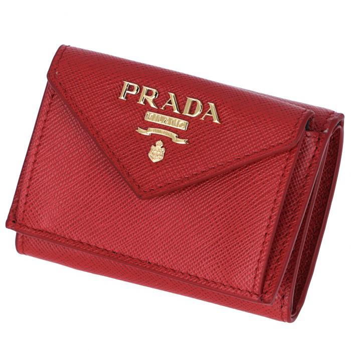 fa0699146678 プラダPRADA2019年春夏新作三つ折り財布ミニ財布レディースサフィアーノレッド1MH021QWA68Z
