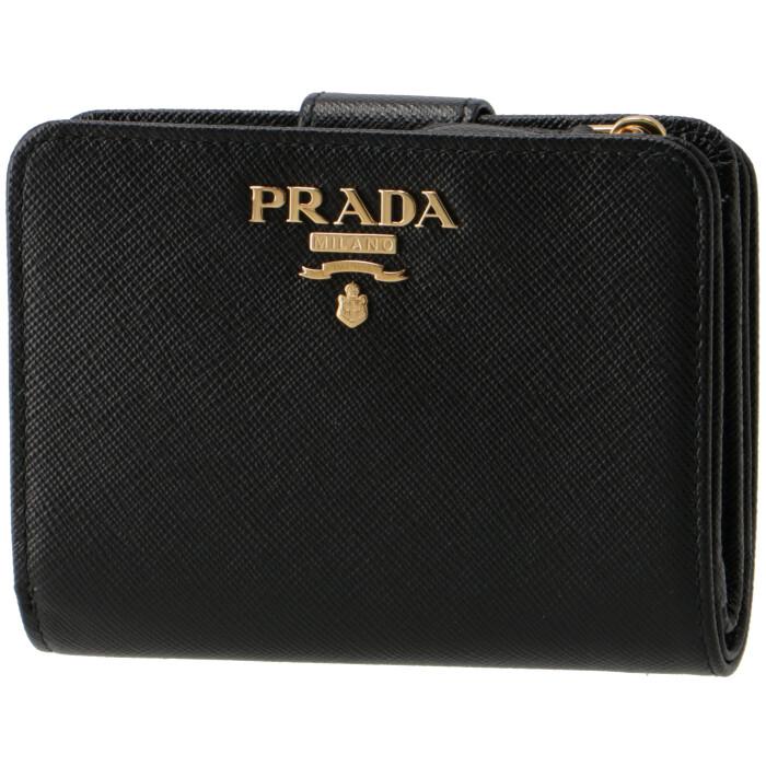 プラダ PRADA 2019年春夏新作 財布 レディース サフィアーノメタル 二つ折り財布 ブラック 1ML018 QWA 002