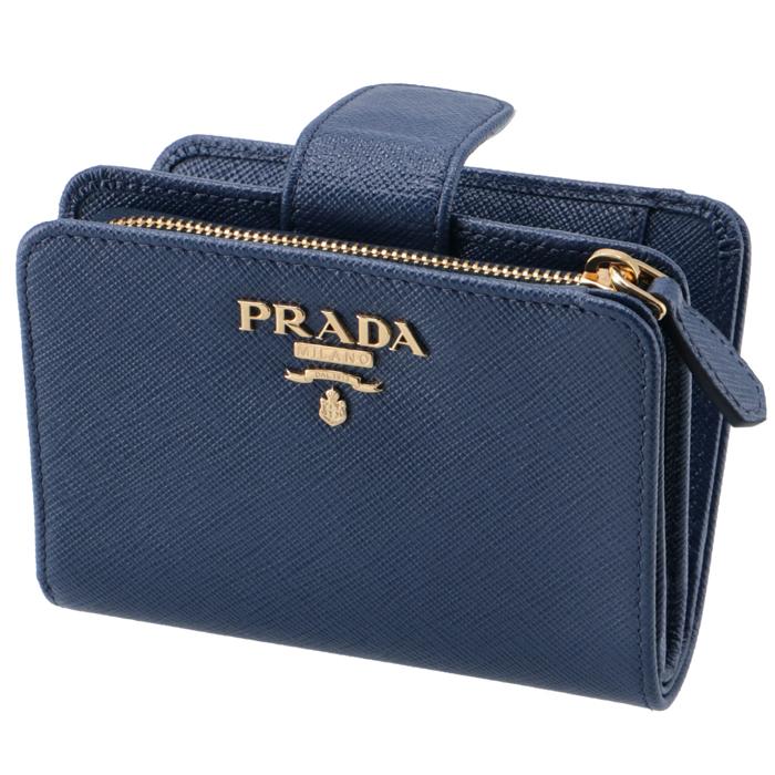 プラダ PRADA 2019年春夏新作 財布 二つ折り レディース サフィアーノ ミニ財布 ブルー系 1ML018 QWA 016