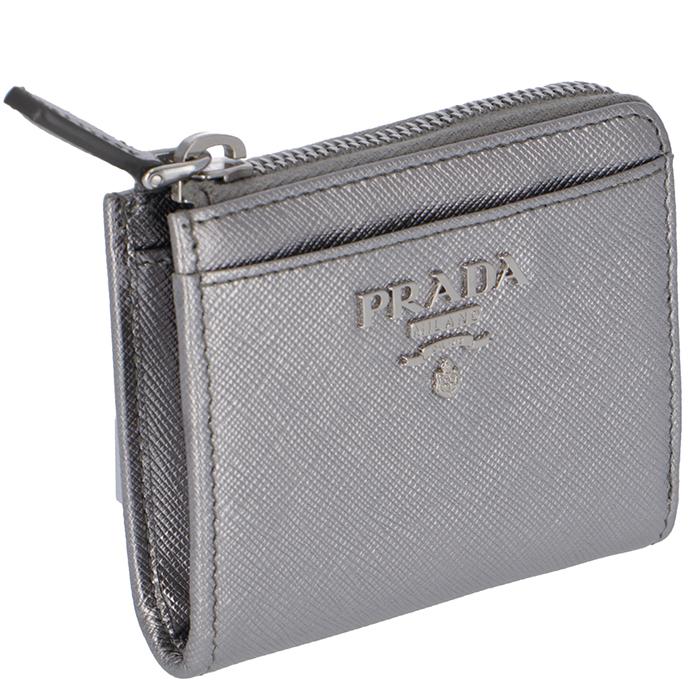 プラダ PRADA 財布 レディース 小銭入れ サフィアー シルバー 1ML025 QWA 135
