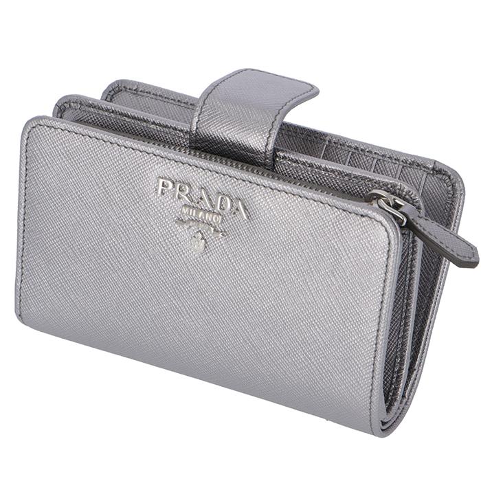 プラダ PRADA 2018年秋冬新作 財布 二つ折り 二つ折り財布 折財布 サフィアーノ 財布 レディース シルバー系 1ML225 QWA 135