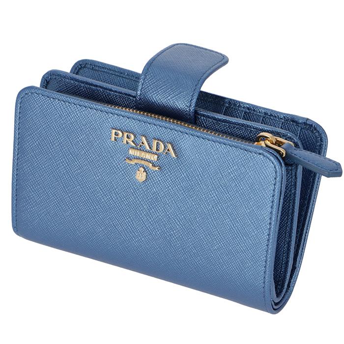 プラダ PRADA 2018年秋冬新作 財布 二つ折り 二つ折り財布 折財布 サフィアーノ 財布 レディース メタリック ブルー 1ML225 QWA CSQ