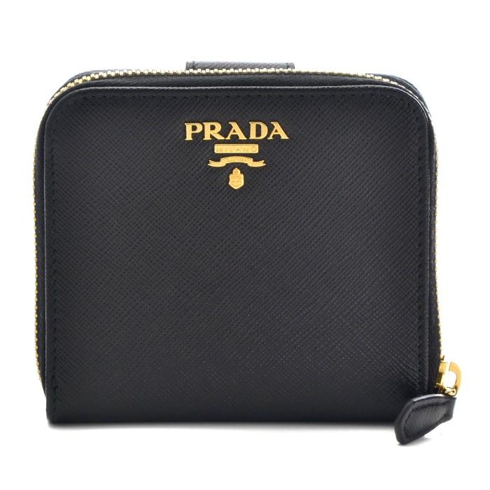 プラダ PRADA 2018年秋冬新作 財布 サフィアーノ メタル 二つ折り財布 ブラック 1ML522 QWA 002