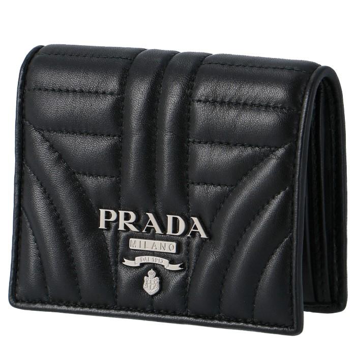 プラダ PRADA 2018年秋冬新作 ミニ財布 レディース DIAGRAMME ダイアグラム 二つ折り財布 ブラック 1MV204 2B0X 002