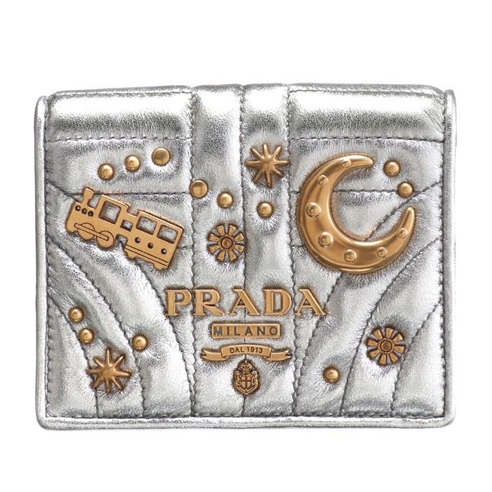 プラダ PRADA 2018年秋冬新作 財布 レディース ミニ財布 二つ折り財布 シルバー系 1MV204 2B1C 135