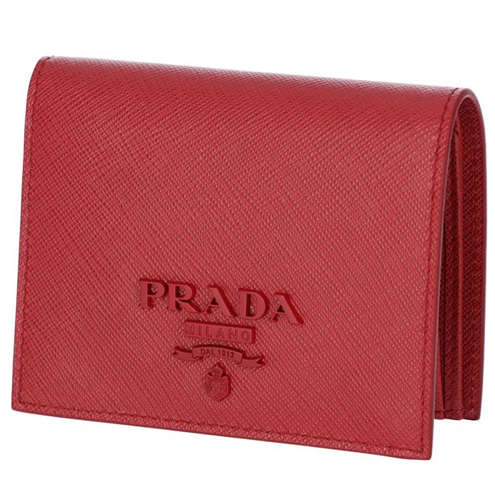 91619d150d42 プラダPRADA2019年春夏新作財布レディースミニ財布サフィアーノレザー二つ折り財布レッド
