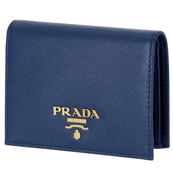 プラダ PRADA サフィアーノ 財布 レディース ミニ財布 二つ折り財布 ブルー系 ネイビー系 1MV204 QWA 016