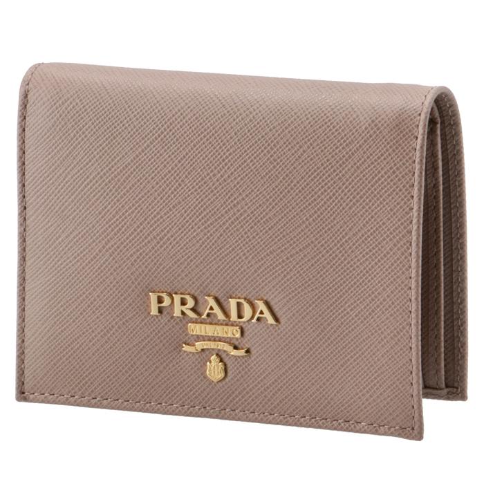 10054cd0a4f5 プラダPRADA2019年春夏新作財布レディースミニ財布サフィアーノメタル二つ折り財布ベージュ