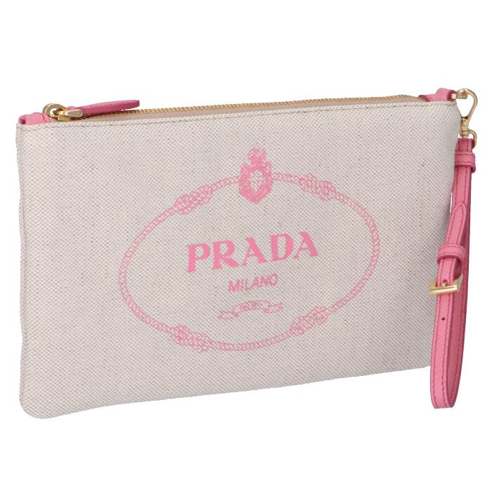 プラダ PRADA 2020年春夏新作 ロゴ キャンバス ポーチ クラッチ ベージュ×ピンク 1NH018 ZPX N9T
