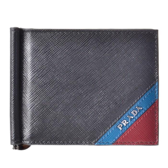 プラダ PRADA 2019年春夏新作 メンズ マネークリップ式 二つ折り財布 カード入れ付き サフィアーノストライプ ブラック系 2MN077 2EGO XW7