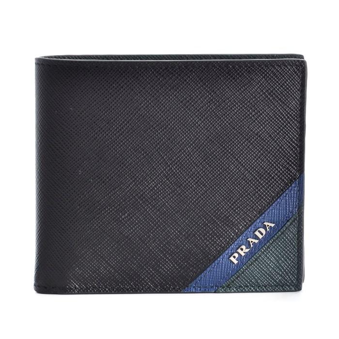 プラダ PRADA 財布 サフィアーノ メンズ 二つ折り財布 ブラック系 2MO738 2EGO 575