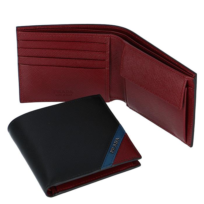 プラダ PRADA 2019年春夏新作 メンズ 財布 折財布 サフィアーノ ブラック系 2MO738 2EGO XW7