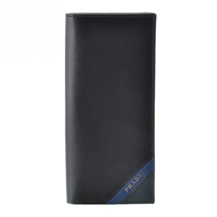 プラダ PRADA サフィアーノ saffiano メンズ 二つ折り長財布 ブラック系 2MV836 2EGO 575