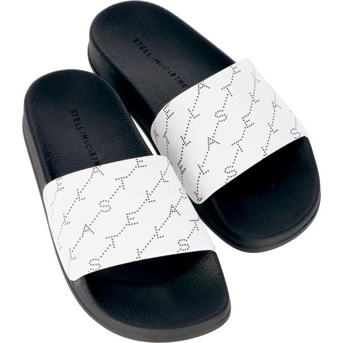 ステラマッカートニー STELLA MCCARTNEY 2019年春夏新作 モノグラム ロゴ ラバー スライドサンダル シューズ 靴 ホワイト系 558867 W1PN0 9034