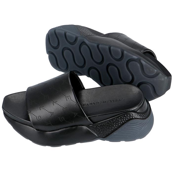 ステラマッカートニー STELLA MCCARTNEY 2019年春夏新作 Eclypse エクリプス モノグラム フラットスライドサンダル シューズ 靴 ブラック 558884 W1G90 1000