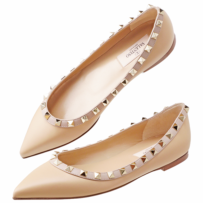 ヴァレンティノ・ガラヴァーニ VALENTINO GARAVANI ロックスタッズ バレリーナ フラットシューズ ROCKSTUD 靴 シューズ パンプス ベージュ系 QW1S0403 VOD 00E