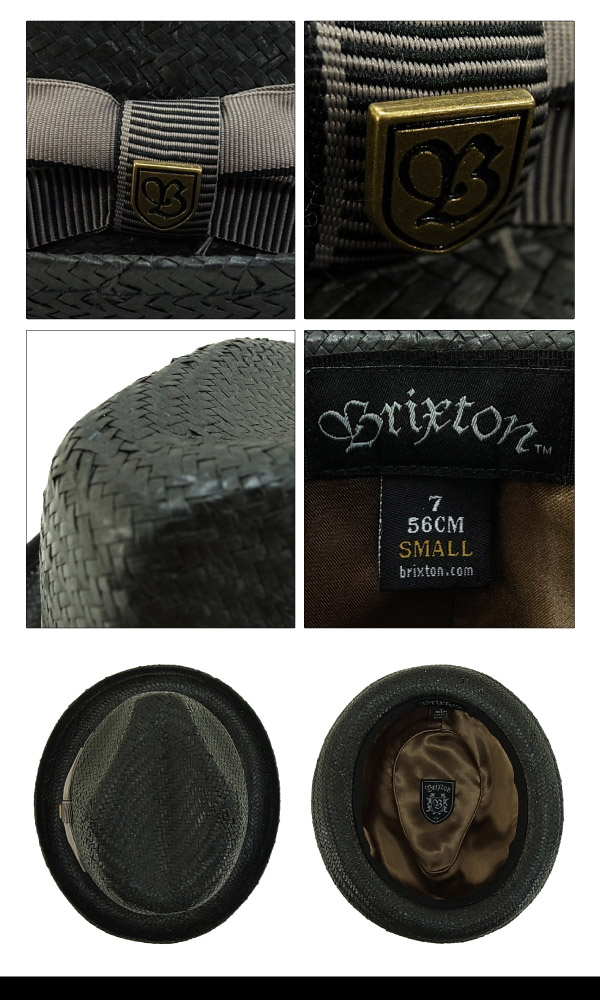 963d61443435ae amb: Brixton Castor Straw Hat Black / taupe (Brixton Castor Boater ...