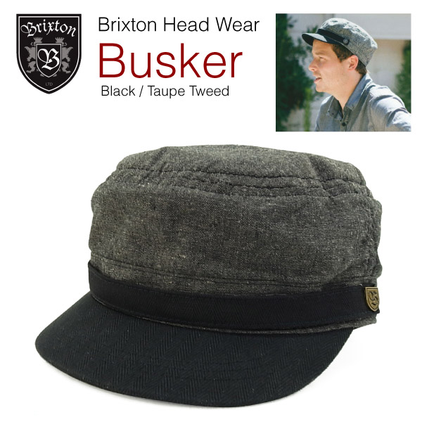 3a13352a1a2b6 ... italy brixton busker vintage military inspired hat black the taupe  tweed brixton busker cap d56ae d238a