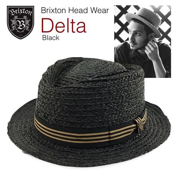 ブリクストンデルタショートブリムポークパイハットブラック (Brixton DELTA straw hat boater) 6e50635968e