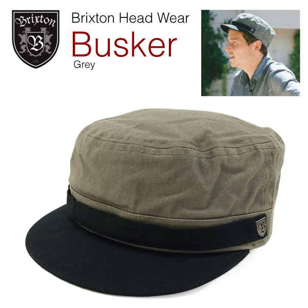 amb  Brixton busker vintage military inspired Hat gray (Brixton ... 612b27ca6d1