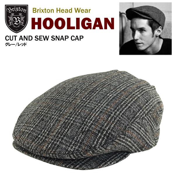 Brixton hooligan cut  amp  saw snap Cap grey   red (Brixton HOOLIGAN CUT  AND SEW SNAP CAP Hunting Hat) 968f187fbbb0