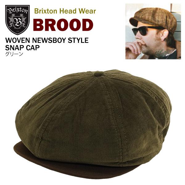 86196fcef03de amb  Brixton Brood War VEN news boy style snap Cap green (Brixton ...