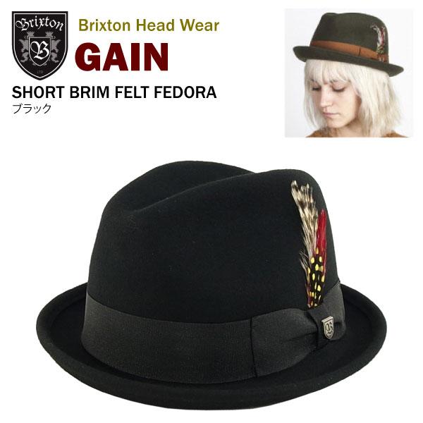 amb  Brixton gain short brim felt Fedora black (wool hat Brixton ... 8d72722f18c