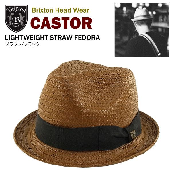 58b21e8cd0a9c2 amb: Brixton Castor lightweight straw Fedora brown / black (Brixton ...