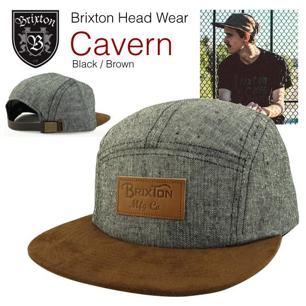 ecc5b3a5538c2 Brixton cavern 5 Panel Snapback Cap Black   Brown (Brixton CAVERN FIVE PANEL  SNAPBACK CAP)