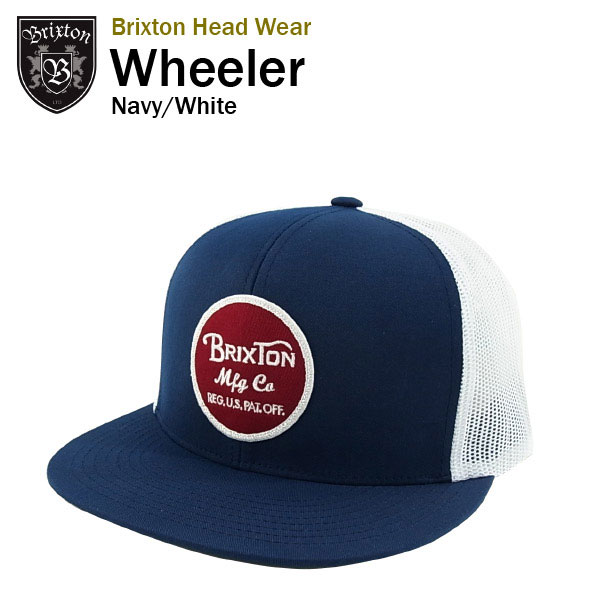 793f46a78af91 amb  Brixton Wheeler five panel cotton mesh Cap Navy   white ...
