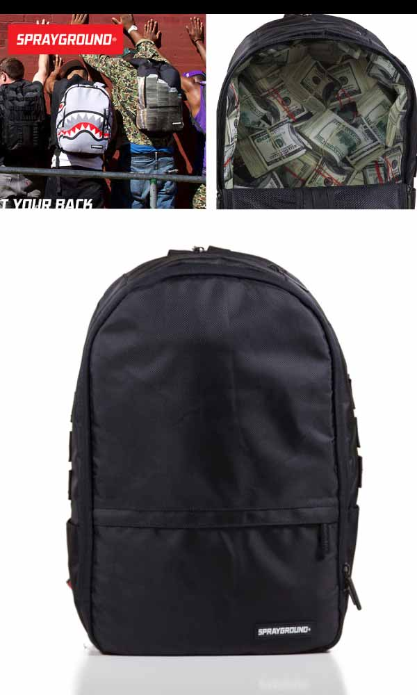 Spray ground black polyester stashed money backpack (SPRAY GROUND BLACK POLYESTER STASHED MONEY BACKPACK rucksack BU015) [arrived late March]