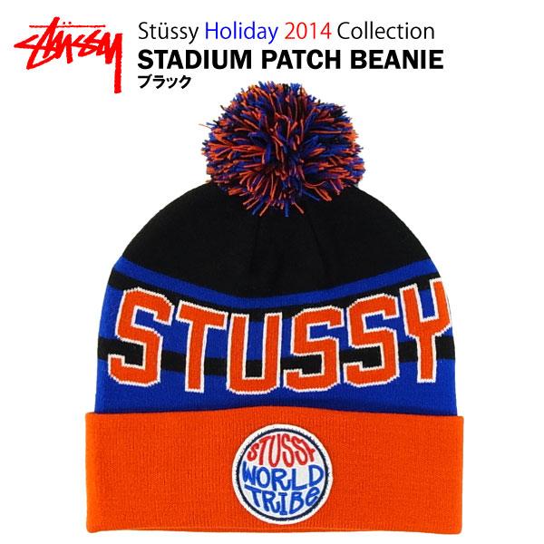 00546db818c Stussy Stadium patch Beanie black (STUSSY STADIUM PATCH BEANIE with Pom Pom  NET CAP knit CAP)